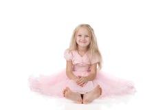 Little girl in a pink elegant dress. stock image