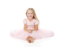 Little girl in a pink elegant dress. Royalty Free Stock Photo