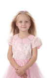 Little girl in a pink elegant dress. Royalty Free Stock Image