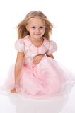 Little girl in a pink elegant dress. Royalty Free Stock Images