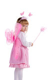 Little girl in pink fairy costume Stock Photo