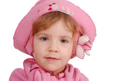 Little girl with pink hat Royalty Free Stock Photos