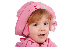 Little girl with pink hat and scarf Stock Images