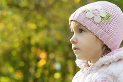 Little girl in pink hat Stock Photography