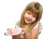 Little girl with pink heart. Royalty Free Stock Photography