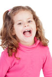Little girl in pink laughing out loud Stock Photos