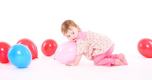 Little girl in a pink pajamas Royalty Free Stock Photography