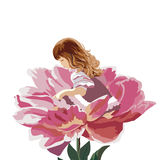Little girl in a pink peony flower stock illustration