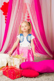 Little girl in a  pink skirt Royalty Free Stock Images