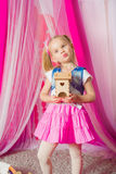 Little girl in a  pink skirt Royalty Free Stock Image