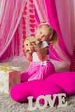 Little girl in a  pink skirt Stock Photography