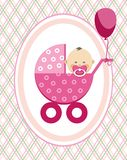 Baby, girl, Asia, postcard, pink lines, rhombuses, vector. A little girl in a pink stroller. A pink balloon is tied to the stroller. Color, flat card Royalty Free Stock Image