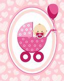 Newborn baby, girl, greeting card, pink hearts, vector. A little girl in a pink stroller. A pink balloon is tied to the stroller. Color, flat card Royalty Free Stock Images