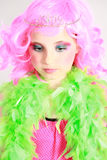 Little girl in pink wig and tiara Royalty Free Stock Photography