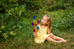Little girl with pinwheel Royalty Free Stock Photo