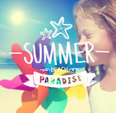 Little Girl with Pinwheel and Summer Concept Stock Photos