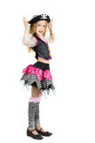 Little girl in pirate carnival costume for Halloween. Stock Photos