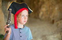 Little girl in pirate costume. Royalty Free Stock Photography