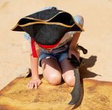 Little girl in pirate costume. Stock Photos