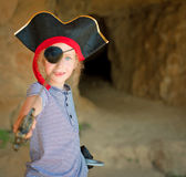 Little girl in pirate costume. Royalty Free Stock Photo