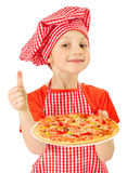 Little girl with pizza Royalty Free Stock Photo