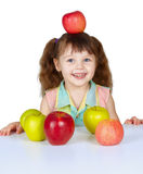 Little girl placed apple on head Stock Photography
