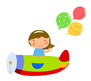 Little girl and plane Stock Photography