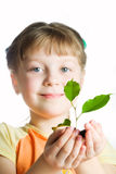 Little girl with plant Royalty Free Stock Image