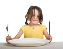 Little girl with plate Royalty Free Stock Photos