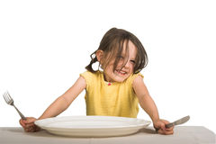 Little girl with plate Stock Photo