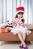 Little Girl With a Plate of Cookies for Santa Stock Photos