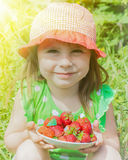 Little girl with a plate of strawberries Stock Photos