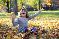 Little girl play with autumn leaves Royalty Free Stock Photos