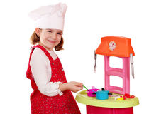 Little girl play cooking Stock Photos