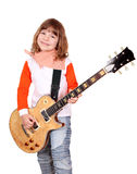 Little girl play electric guitar Royalty Free Stock Images