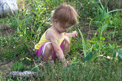 Little girl play in the garden Royalty Free Stock Photo