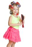 Little girl play hairdresser Royalty Free Stock Images