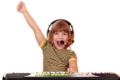 Little girl play keyboard Royalty Free Stock Image