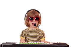 Little girl play music and sing. Happy little girl play music and sing Stock Images