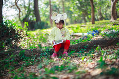 Little girl play with tablet Royalty Free Stock Photo