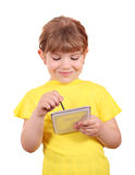Little girl play with tablet Stock Photo