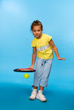 Little girl play tennis Royalty Free Stock Image