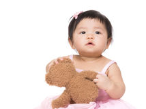 Little girl play with toy bear Royalty Free Stock Photos