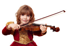 Little girl play violin Stock Photo