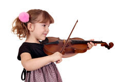 Little girl play violin on white Royalty Free Stock Photos