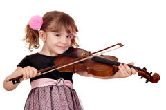 Little girl play violin on white Stock Photo
