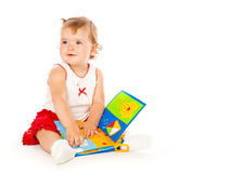 Little Girl Play Wit Book Stock Photography