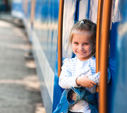 Little girl on the playground Stock Image
