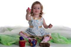 Little girl is playing Royalty Free Stock Photos