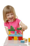 Little girl playing. With cubes Stock Photo